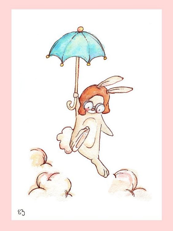 Children Art Print. Aviator Bunny. PRINT 8X10. by LoxlyHollow
