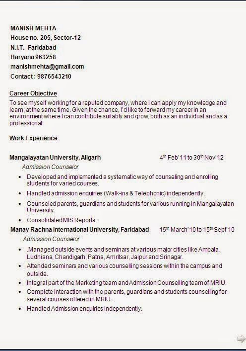 examples of a job resume Sample Template Example - admissions counselor resume