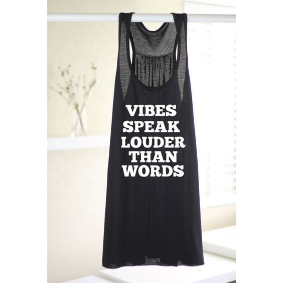 Vibes Speak Louder Than Words Yoga Tank Top Yoga Tank Yoga Top Yoga... (265 ARS) ❤ liked on Polyvore featuring black, t-shirts, tops and women's clothing