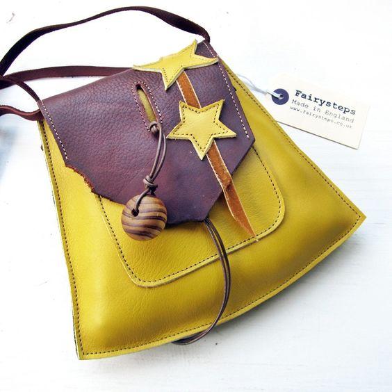 YSABEL Small Leather Messenger Bag, Mahogany, Daffodil 2229 by Fairysteps. £46.00, via Etsy.