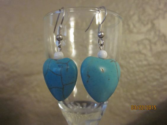 A4 Silver Heart Turquoise Earrings w/ White by ParadiseKreations