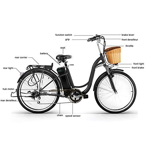 Nakto 26 250w Cargo Electric Bicycle Step Through Ebike 36v 10ah