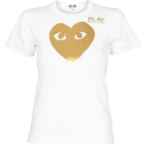 Comme Des Garcons PLAY Ladies Gold Foil Heart T-Shirt White  
