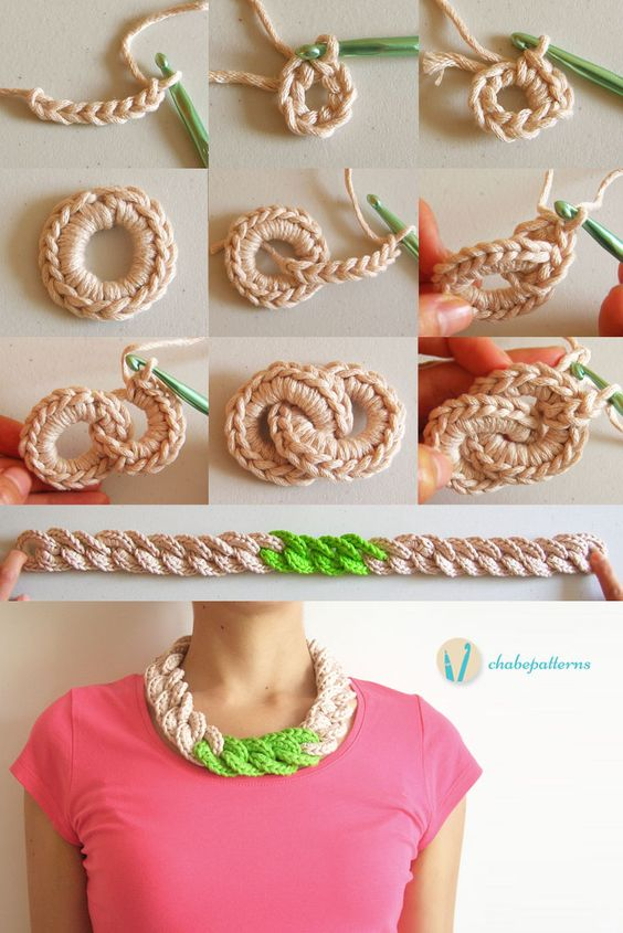 Crochet chain necklace, free pattern, photo tutorial, written instructions/ Collar de cadena tejida, patrón gratis, foto tutorial, instrucciones escritas: