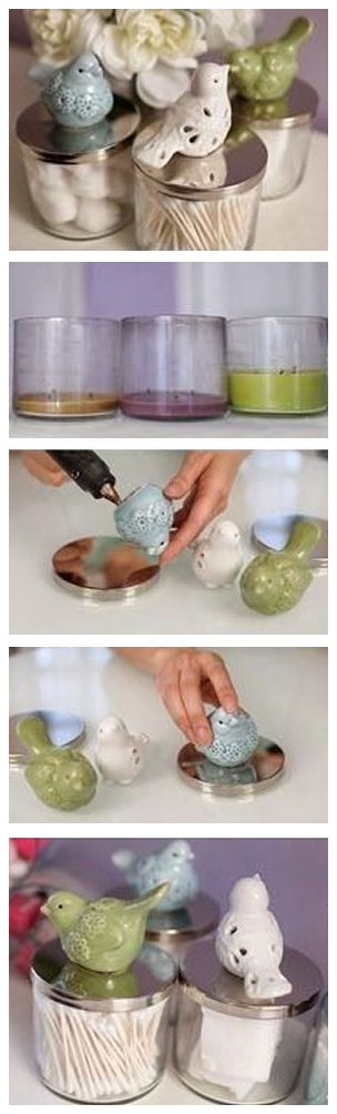 Adding personalized handles to used empty candles // great idea for upgraded bathroom: