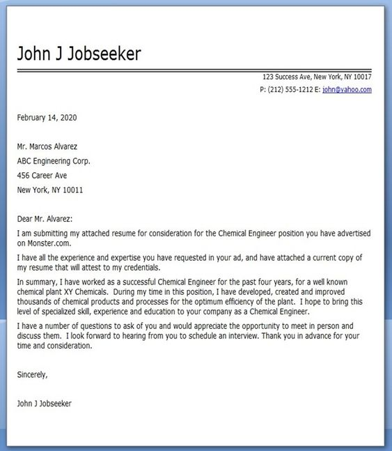 Cover Letter For Graduate Engineering Jobs