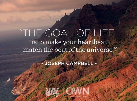 """""""The goal of life is to make your heartbeat match the beat of the universe."""" — Joseph Campbell"""