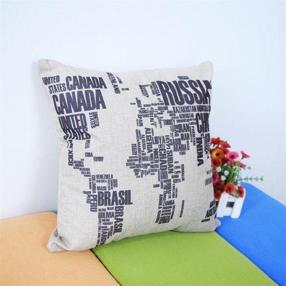 New Fashion Black World MapThrow Pillow Case Home Office Decal Sofa Car Decor Wedding Gift Cushion Cover ETH0154A