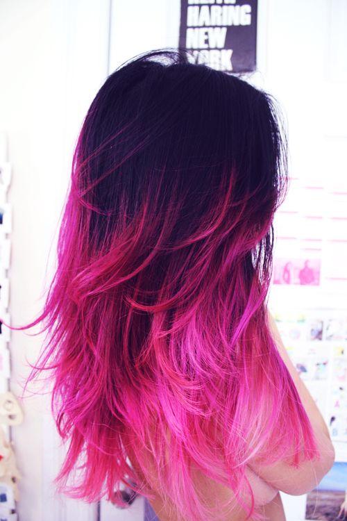 Hot Pink Ombre Dip Dye Hair Chalk: