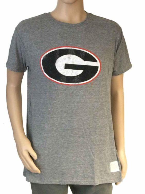 Georgia Bulldogs Retro Brand Gray Soft Tri-Blend Short Sleeve T-Shirt