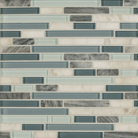 Bedrosians Eclipse Marina Linear Glass Stone Blend Mosaics : Bedrosians - TileCrest | Great Britain Tile - America's Floor Specialists - (877) 895-9775