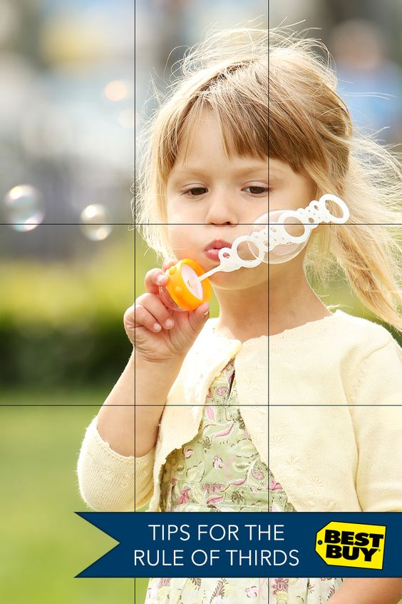 Instead of making your subject the center of your photo, try placing them off to the side using the rule of thirds for a more interesting photo. Under the display settings on a DSLR you can even add a grid for a more precise picture. Get the tips and equipment you need at Best Buy®.