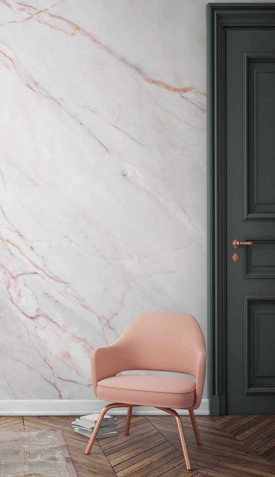 Cracked Natural Marble Wallpaper and a beautiful pink armchair.: