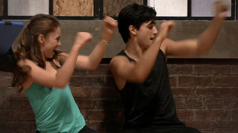 reaction dance dancing happy excited amy the next step tnsseason4 a-troupe alfie next step season 4 giuseppe bausilio arm pump shelby bain #gif from #giphy
