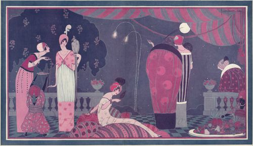"Lepape's illustration 'La fete Persane', most likely Paul and Denise Poiret's ""The Thousand and Second Night"" party, 1912"