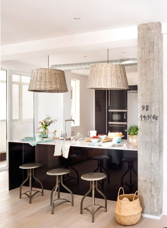 #wood lamp in kitchen and dining