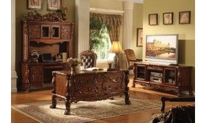Acme Dresden Home Office Furniture Set In Cherry Oak Home Office