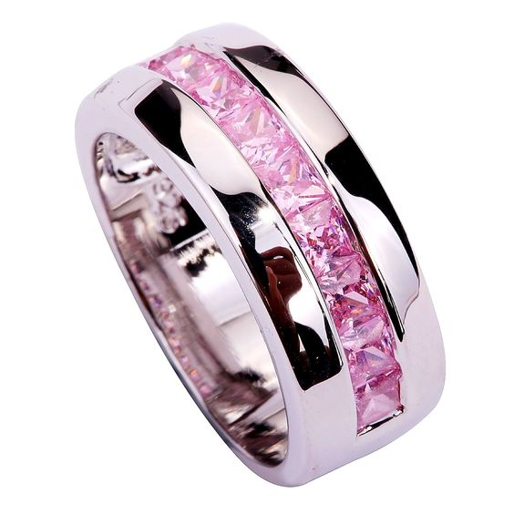 Yazilind Women's Ring with Emerald Cut Big Stone Pink Cubic Zirconia CZ Silver Plated US Size 7 Wedding Party Gift