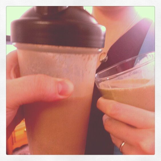 Cheers! Yummy chocolate and greenberry Shakeology!