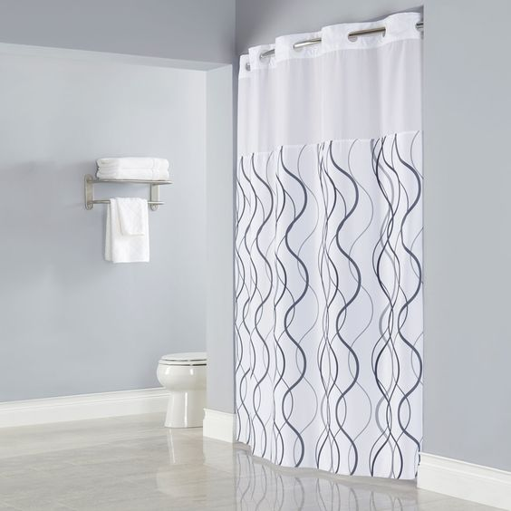 hookless hbh49wav01sl77 white with gray waves shower curtain with matching flat flex on rings. Black Bedroom Furniture Sets. Home Design Ideas