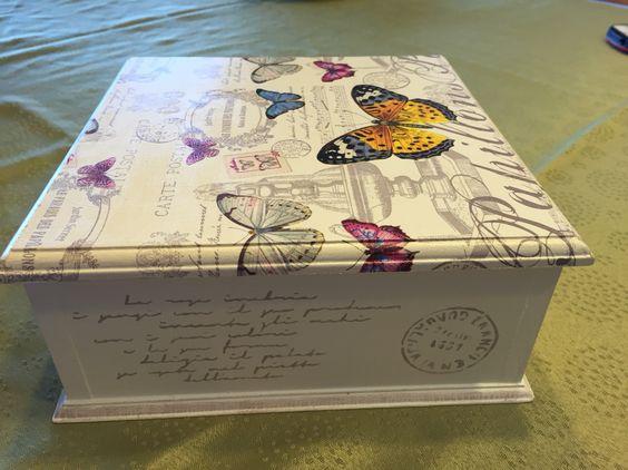 Caja de t decoupage y atenci n decoupage ross - Como decorar una caja de metal ...