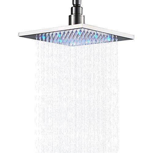 Senlesen Brushed Nickel Bathroom Led Light 8 Inch Rainfall Shower