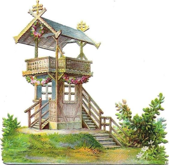 Oblaten Glanzbild scrap die cut chromo Garten Haus garden house wooden balkony: