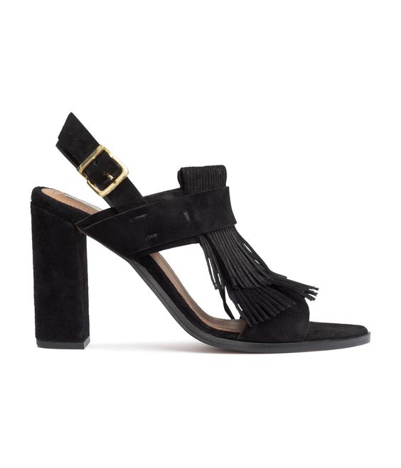 H&M Fringed suede sandals with block heel