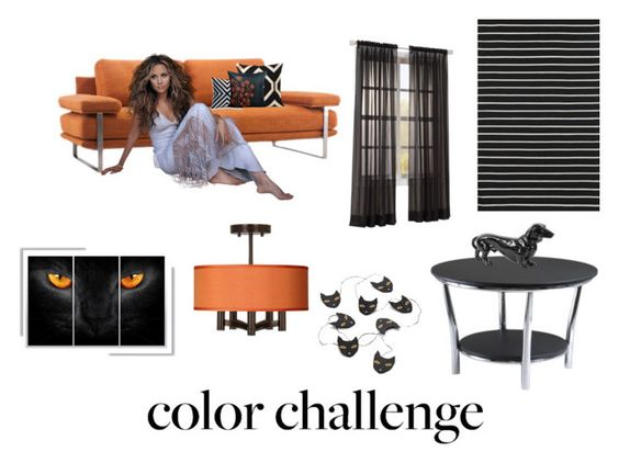 """""""Orange Black Color Challenge Contest"""" by namaste203 ❤ liked on Polyvore featuring interior, interiors, interior design, home, home decor, interior decorating, Crate and Barrel, Universal Lighting and Decor, orangeandblack and colorchallenge"""