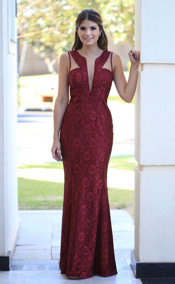 Vestido De Festa Madrinha De Casamento Renda Vermelho Longo