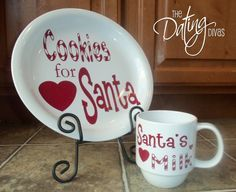 "A simple, classic Christmas tradition that we cherish is leaving out yummy, homemade cookie and ice-cold milk for Santa on Christmas Eve! We spend part of the evening baking up a storm… making classic chocolate chip cookies or whatever cookies we think that Santa will fancy for the year! We use THIS super cute Santa plate and mug. Especially made with love for good old Saint Nick! After the kids are tucked in and fast asleep, Dom and I ""help"" Santa on his way by nibbling a bite or two while…"