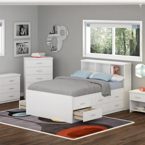 Bookcases bed sets and bookcase headboard on pinterest - Bedroom furniture bookcase headboard ...
