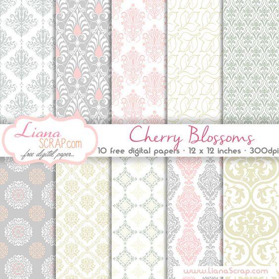 Free digital paper pack – Cherry Blossoms Set - http://www.lianascrap.com/free-digital-paper-pack-cherry-blossoms-set/