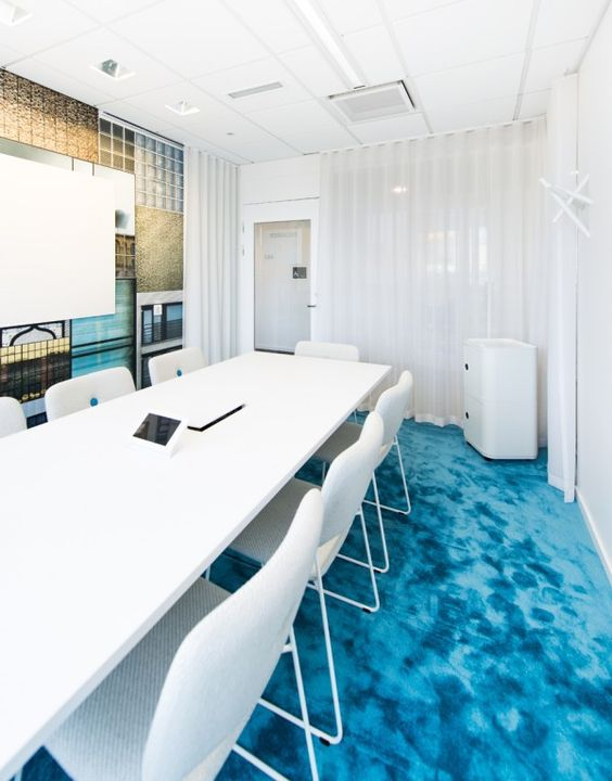 Beautiful modern office renovation stockholm blue table chair idea