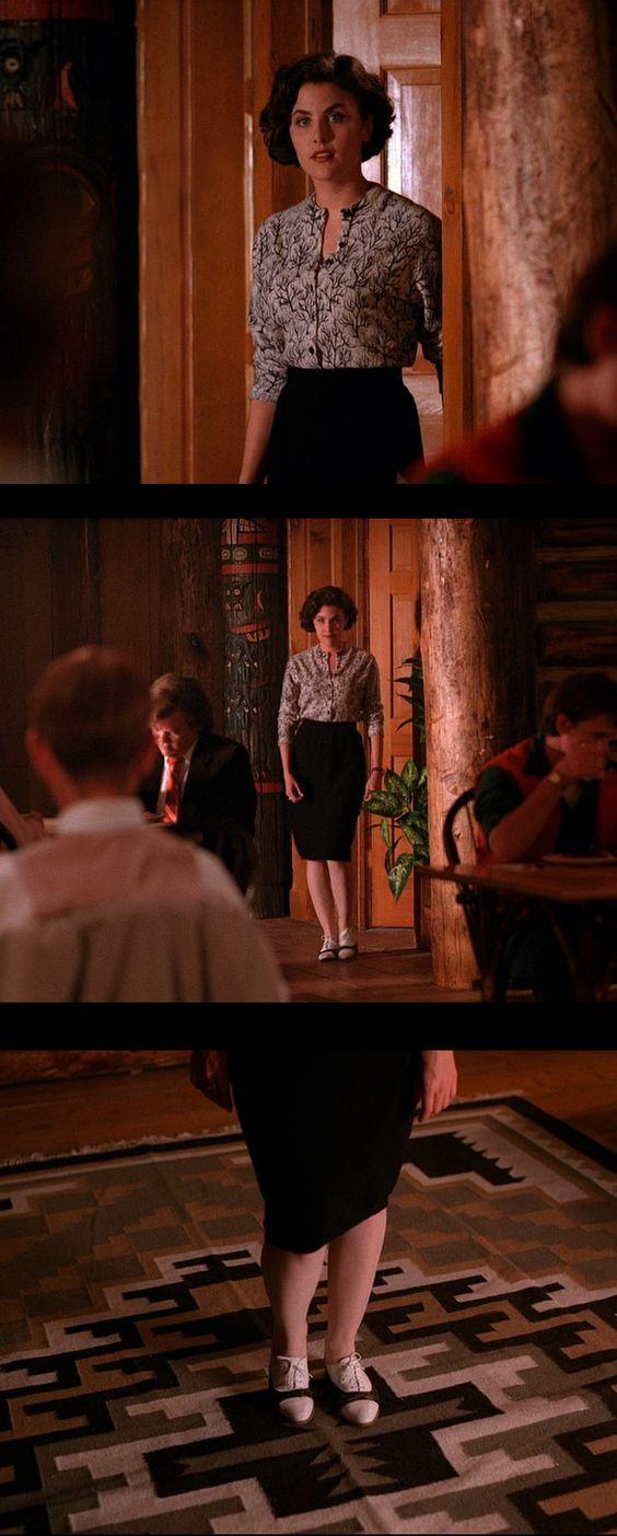 Audrey Horne in 'Twin Peaks' (1990). Costume Designer: Sara Markowitz That cardigan tho.