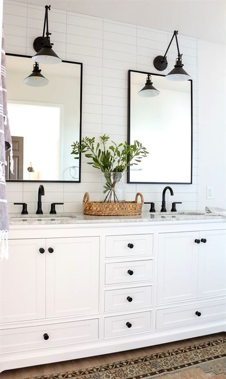 Modern Farmhouse Master Bathroom White And Black Bathroom Dark Hardware White Master Bathroom Renovation Bathroom Vanity Decor Bathroom Remodel Master