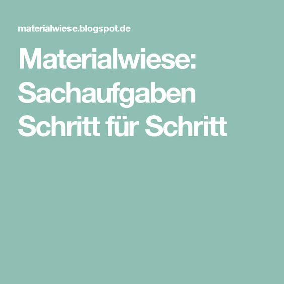 Materialwiese: Sachaufgaben Schritt für Schritt
