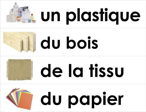 Vocabulary for French immersion - building things unit - fabriquer des objets - en français
