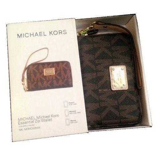 Brown Monogram Michael Kors Wristlet Essential Zip Wallet Case Clutch for  Iphone 5,4,4s by Michael Kors | Stuff I Like | Pinterest | Michael kors  wristlet, ...