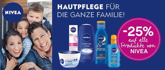 Hol dir deinen -25% Rabatt auf alle Produkte von NIVEA: Hautpflege, Körperpflege, Duschgel und vieles mehr wartet auf dich