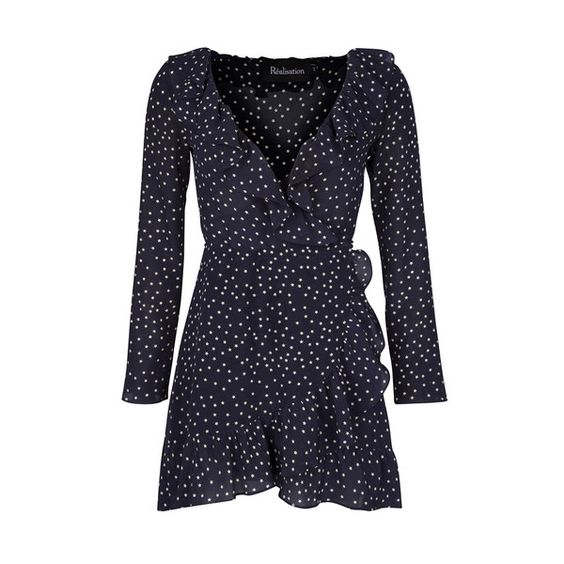 THE DIANE NAVY STAR (2.120 ARS) ❤ liked on Polyvore featuring dresses