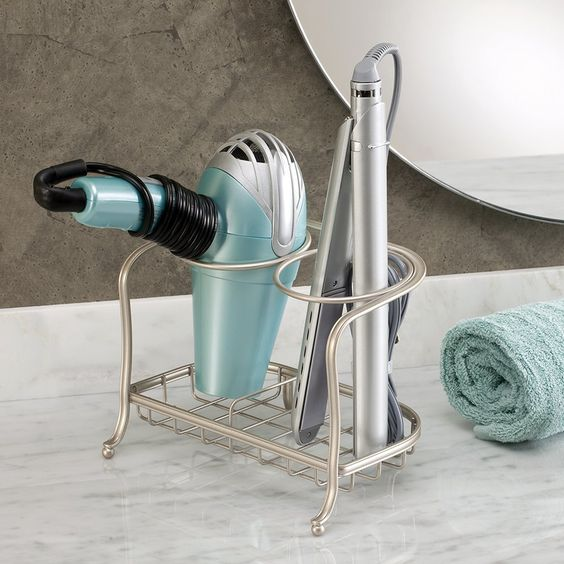 21.40€ InterDesign York Lyra H - Soporte para secador y plancha de pelo (acabado satinado), color claro: Amazon.es: Hogar
