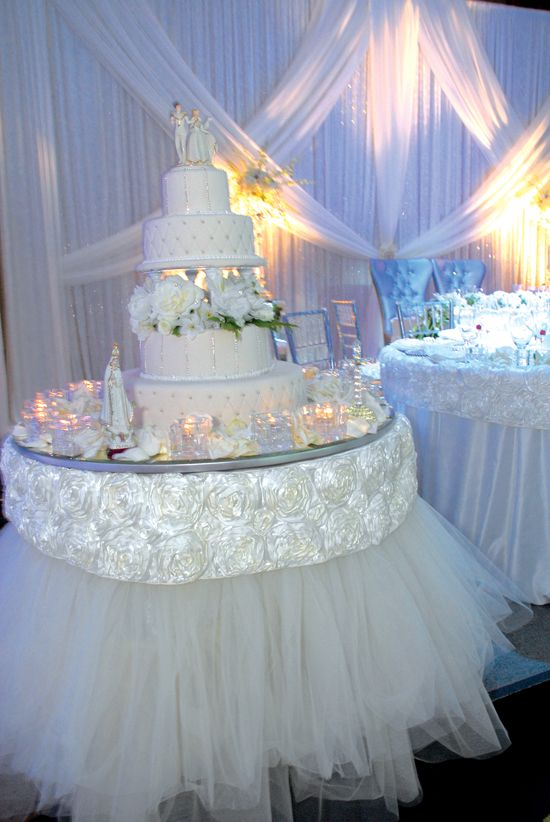 Cake Table Decoration Images : White and Gold Wedding. Stylish Wedding Cake Table ...