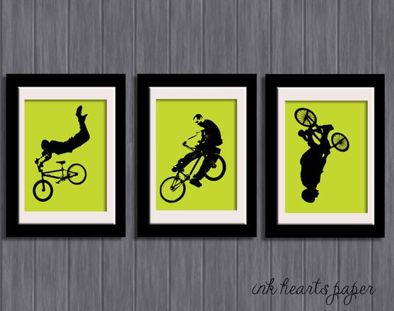 Diy 8 x 10 printable bikers set of 3 bmx bikers for Bmx bedroom ideas