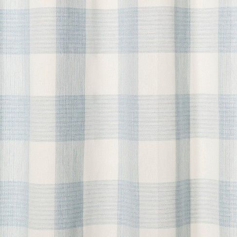 Gingham Checkered Shower Curtain Borage Blue Threshold