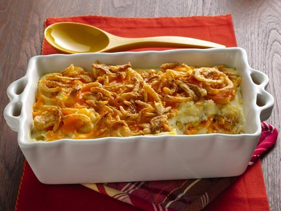 Crunchy Onion Potato Bake.    My husbands favorite!!!  Some adjustments to the recipe; I make my own mashed potatoes instead of the boxed and I buy frozen sweet whole kernel corn instead of the canned corn.  It is a delicious recipe!!!