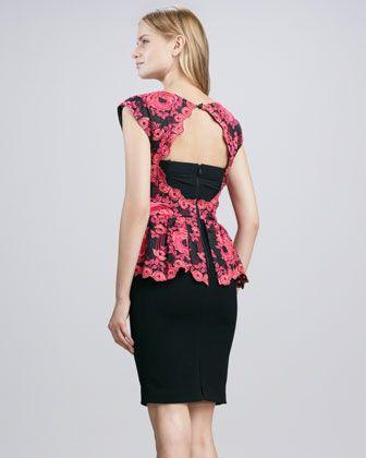 Alice + Olivia Shovan Lace-Print Peplum Dress - Neiman Marcus