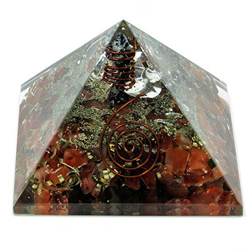 Schön  Orgon-Generator Karneol Pyramide, Orgonit aus Edelsteinen und Metallen, wandelt negative energie in positive energie - 70mm