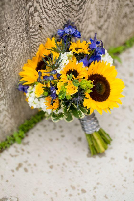 Sunflower  & Blue Iris Bouquet|Sunflower& Navy Blue Classic Summer Wedding|Photographer:  Jeannine Marie Photography