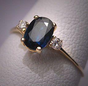 Guao. Vintage Sapphire Diamond Wedding Ring Estate Engagement $495